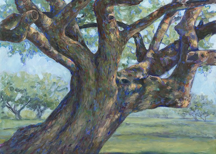 Live Oak Tree Greeting Card featuring the painting The Mighty Oak by Billie Colson