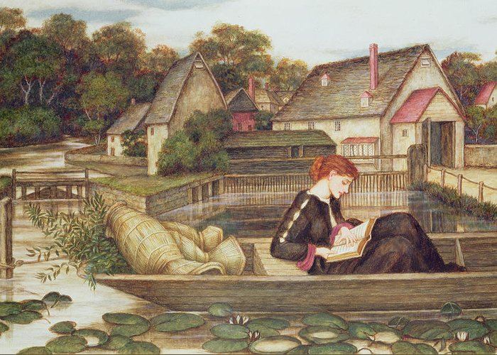 Woman In Lake Greeting Cards