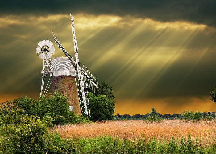 Windmill Greeting Card featuring the photograph The Mill On The Marsh by Meirion Matthias