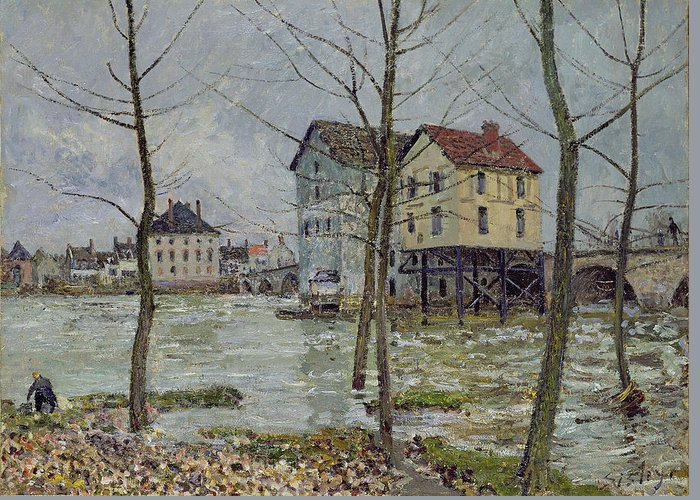 The Mills At Moret-sur-loing Greeting Card featuring the painting The Mills At Moret Sur Loing by Alfred Sisley