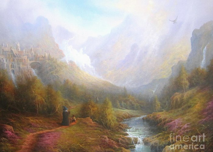 Tolkien Greeting Card featuring the painting The Misty Mountains by Joe Gilronan
