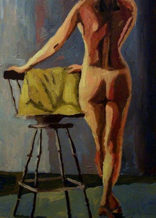 Nude Greeting Card featuring the painting The Model by Mats Eriksson