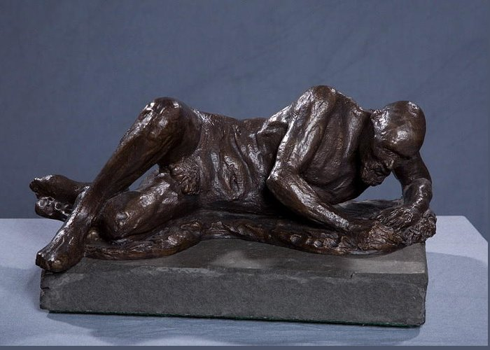 Bronze Sculpture Greeting Card featuring the sculpture The Modern Galacian by Dan Earle