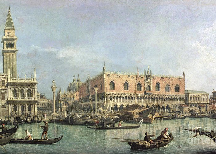The Greeting Card featuring the painting The Molo And The Piazzetta San Marco by Canaletto