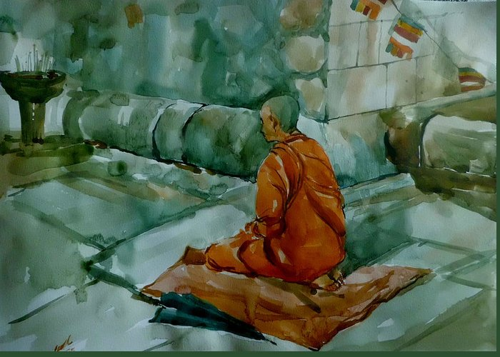 Greeting Card featuring the painting The Monk by Senake Jayasinghe