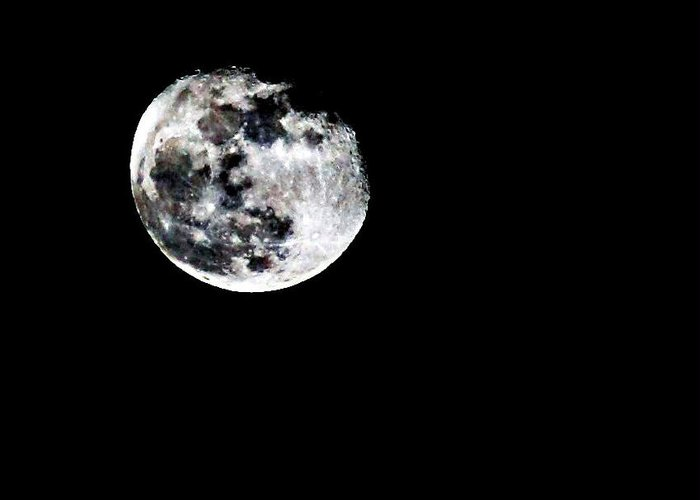 Moon Greeting Card featuring the photograph The Moon by Cherie Duran