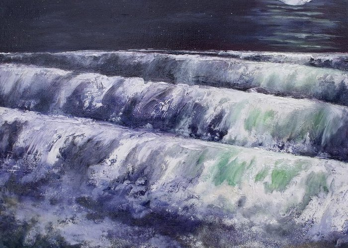 Landscape Greeting Card featuring the painting The Moon Is A White Whale by Diane Daigle