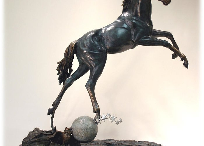 Bronze Greeting Card featuring the sculpture The Moonhorse Bronze by Dawn Senior-Trask