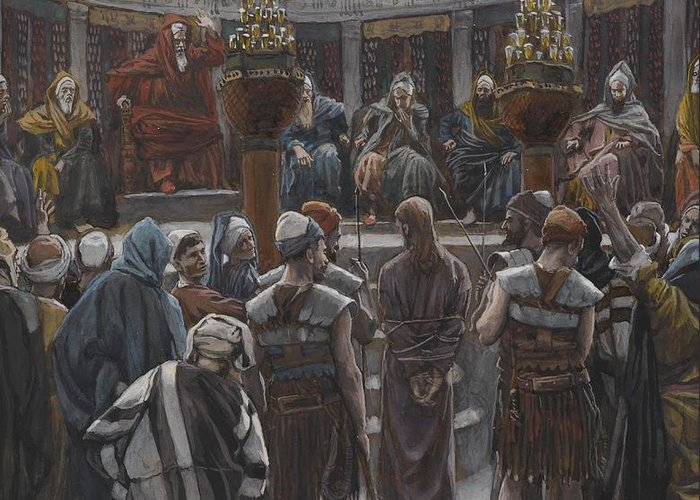 Life Of Christ; Interior; Passion; High Priest; Priests; Elders; Teachers; Male; Decision; Male; Tied Up; Bound; Trial; Tribunal; Jews; Jewish; Guilt; Guilty; Tissot Greeting Card featuring the painting The Morning Judgement by Tissot
