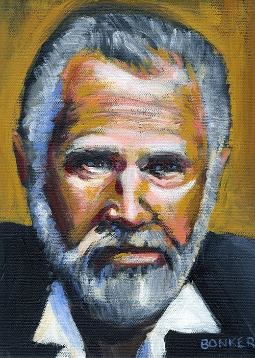 Portrait Greeting Card featuring the painting The Most Interesting Man In The World by Buffalo Bonker