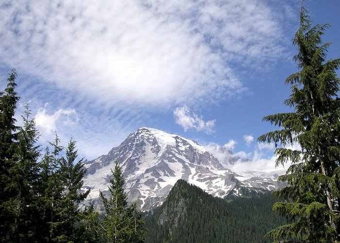 Mountain Greeting Card featuring the photograph The Mountain Mt Rainier Washington by Michael Bessler