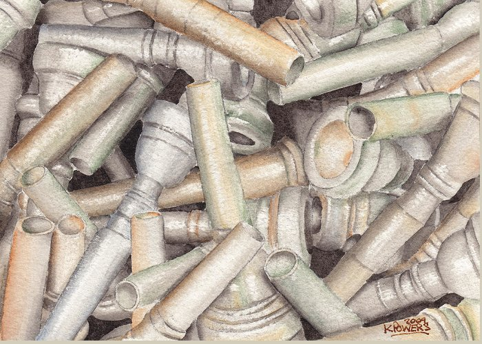Brass Greeting Card featuring the painting The Mouthpiece Jumble Experiment by Ken Powers