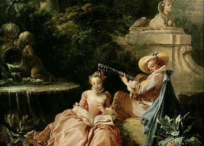 The Greeting Card featuring the painting The Music Lesson by Francois Boucher