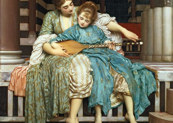 The Music Lesson Greeting Card featuring the painting The Music Lesson by Frederic Leighton