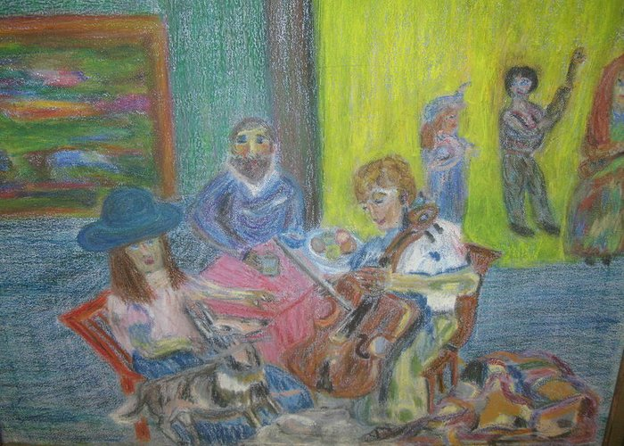 Music Greeting Card featuring the painting The Music Room by Paula Andrea Pyle