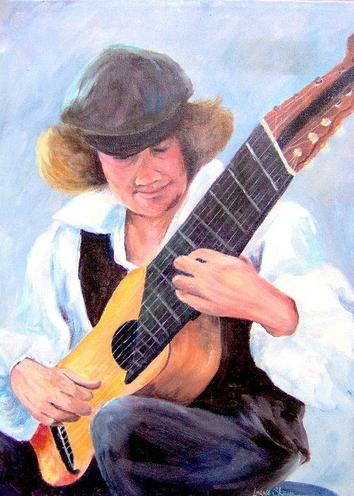 Portrait Greeting Card featuring the painting The Musician by Lorna Skeie