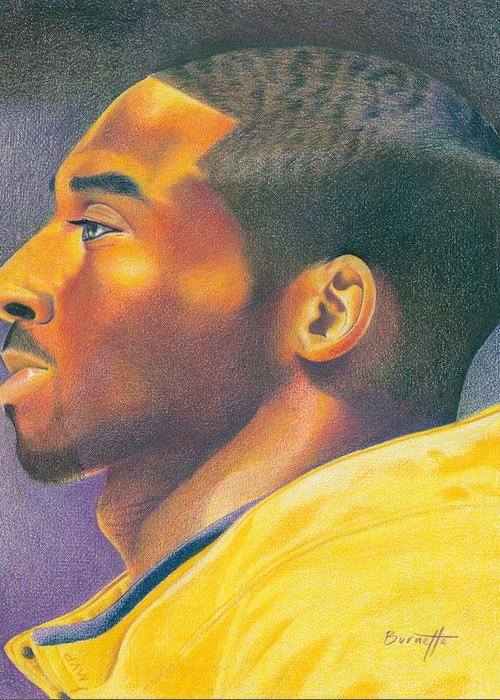 Lakers Greeting Card featuring the drawing The Mvp by Keith Burnette