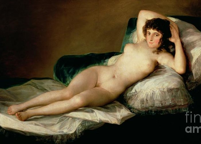 Nude Greeting Card featuring the painting The Naked Maja by Goya