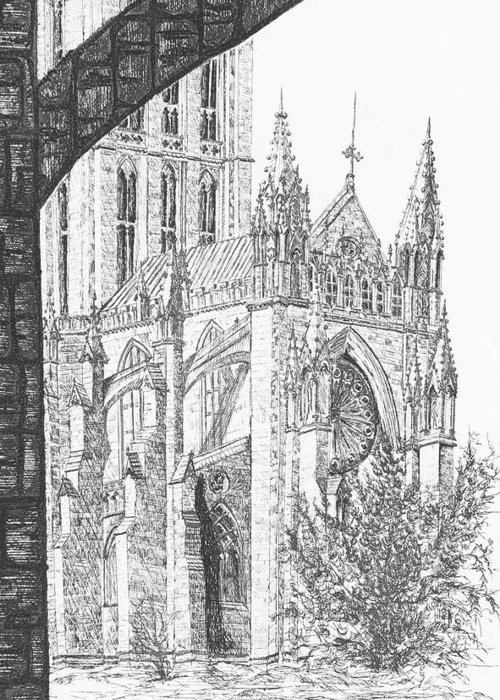 Etching Greeting Card featuring the drawing The National Cathedral by Victoria Shea