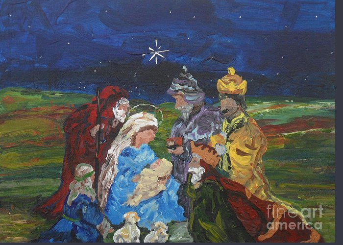 Nativity Greeting Card featuring the painting The Nativity by Reina Resto