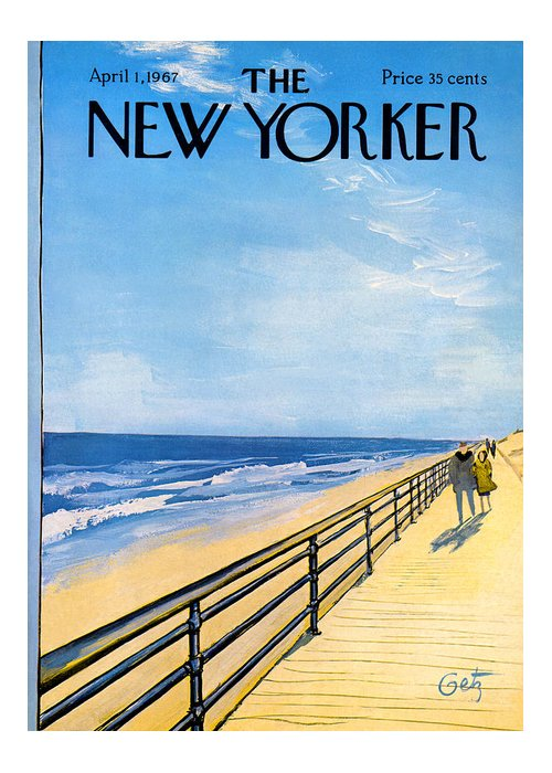 Arthur Greeting Card featuring the painting The New Yorker Cover - April 1st, 1967 by Arthur Getz