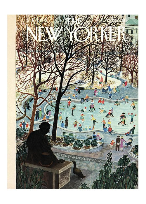 Ilonka Greeting Card featuring the painting The New Yorker Cover - February 4th, 1961 by Ilonka Karasz