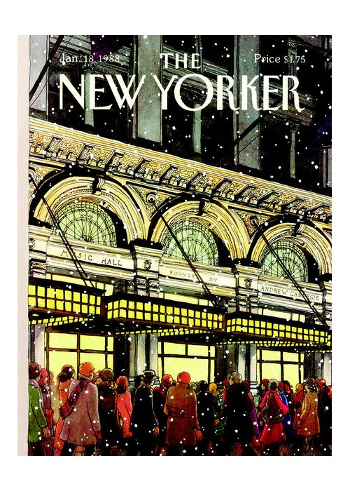 Urban Greeting Card featuring the painting The New Yorker Cover - January 18th, 1988 by Roxie Munro