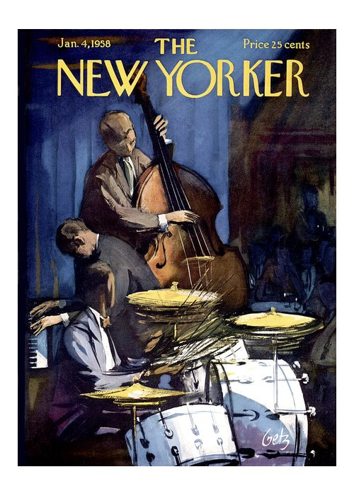 Concert Greeting Card featuring the painting New Yorker January 4th, 1958 by Arthur Getz