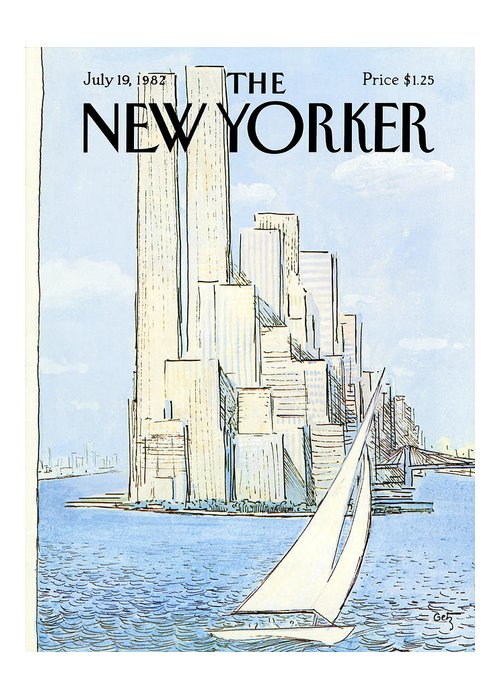 Regional Greeting Card featuring the painting New Yorker July 19th, 1982 by Arthur Getz