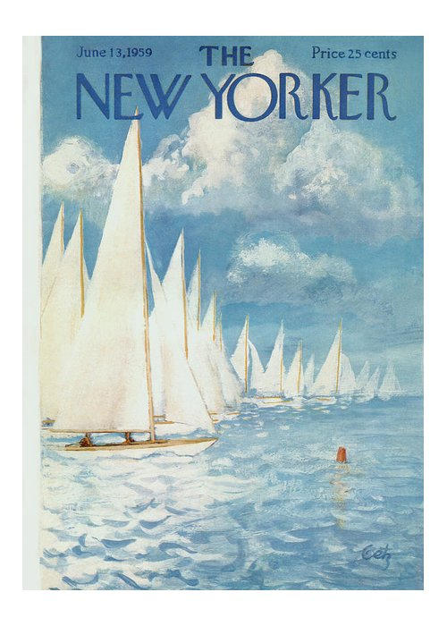 Arthur Greeting Card featuring the painting New Yorker Cover - June 13th, 1959 by Arthur Getz