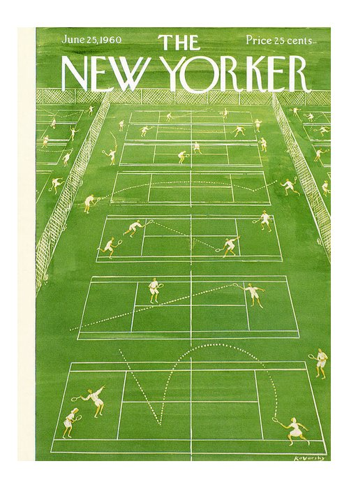 Tennis Greeting Card featuring the painting New Yorker Cover - June 25th, 1960 by Anatol Kovarsky