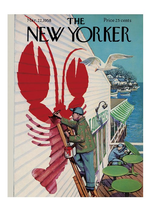 Food Greeting Card featuring the photograph The New Yorker Cover - March 22, 1958 by Arthur Getz