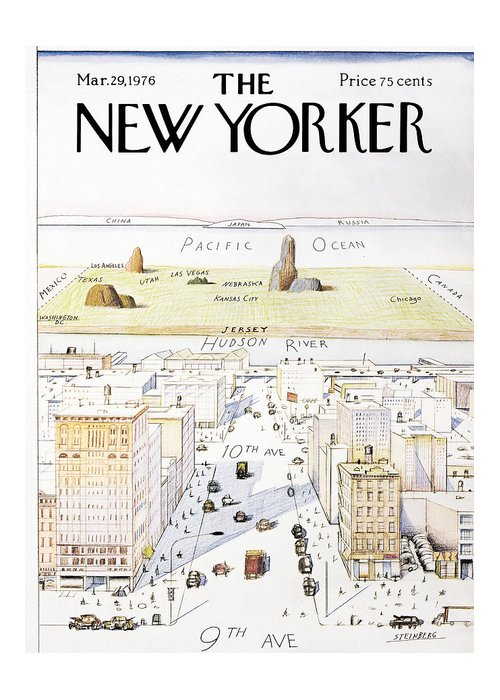 #condenastnewyorkercover Greeting Card featuring the painting New Yorker March 29, 1976 by Saul Steinberg