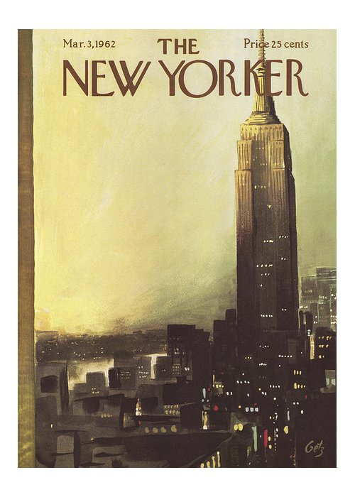 Arthur Greeting Card featuring the painting The New Yorker Cover - March 3rd, 1962 by Arthur Getz