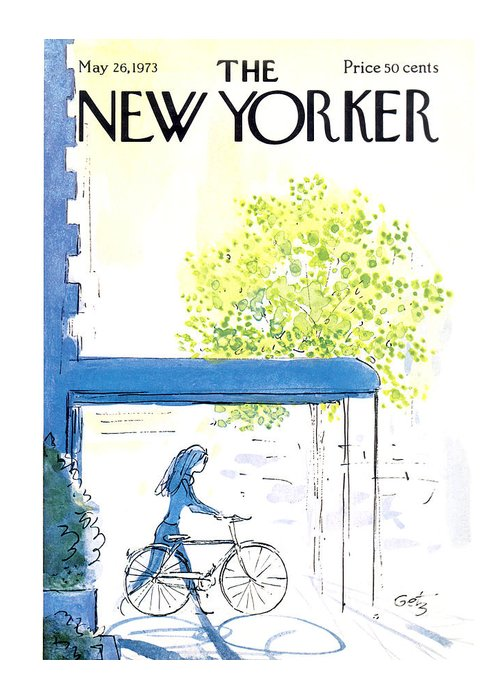 Bicycle Greeting Card featuring the painting The New Yorker Cover - May 26th, 1973 by Arthur Getz