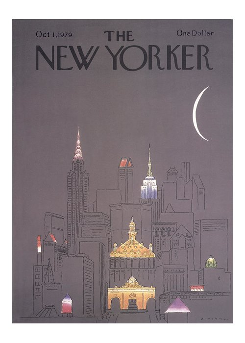 Urban Greeting Card featuring the drawing New Yorker October 1st, 1979 by RO Blechman