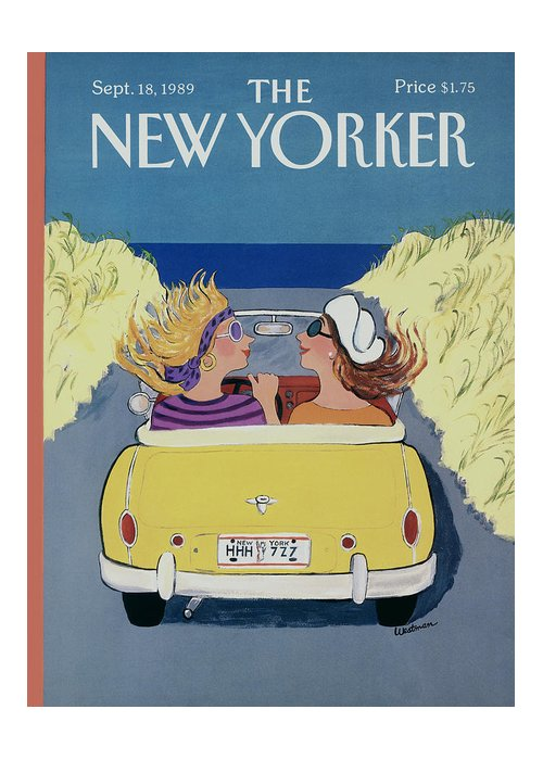 Autos Greeting Card featuring the photograph The New Yorker Cover - September 18th, 1989 by Barbara Westman