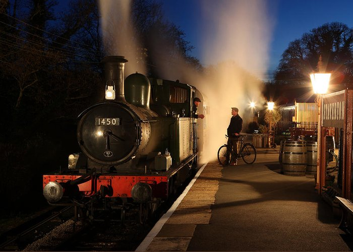 Steam Greeting Card featuring the photograph The Night Shift by Robert Sherwood