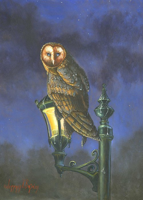 Barn Owl Greeting Card featuring the painting The Night Watch by Jeff Brimley