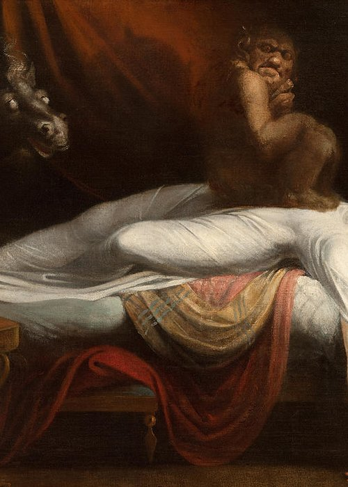 The Greeting Card featuring the painting The Nightmare by Henry Fuseli