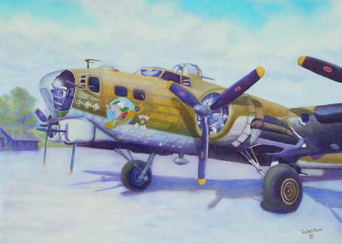 B-17 Greeting Card featuring the painting The Nine O Nine by Scott Robertson