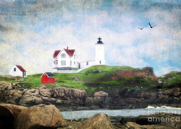 Architectural Greeting Card featuring the photograph The Nubble by Darren Fisher