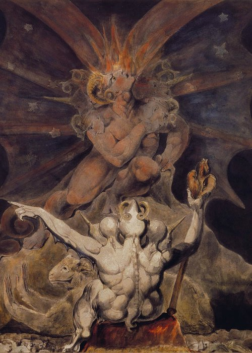 William Blake Greeting Card featuring the painting The Number Of The Beast Is 666 by William Blake