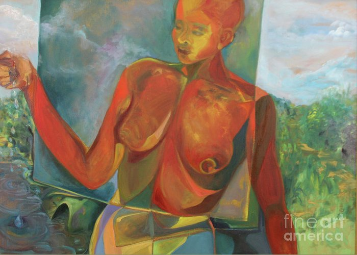 Oil Painting Greeting Card featuring the painting The Nurturer by Daun Soden-Greene