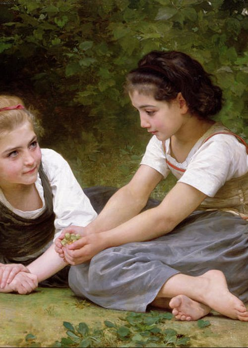 Nut Greeting Card featuring the painting The Nut Gatherers by William-Adolphe Bouguereau