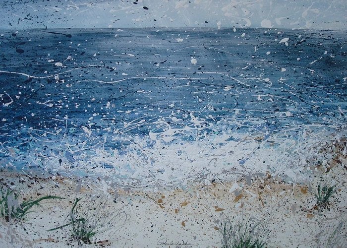 Beach Greeting Card featuring the painting The Ocean by Paula Weber