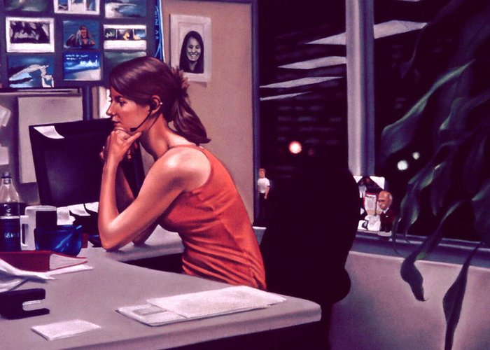 Figures Greeting Card featuring the painting The Office by Glenn Bernabe