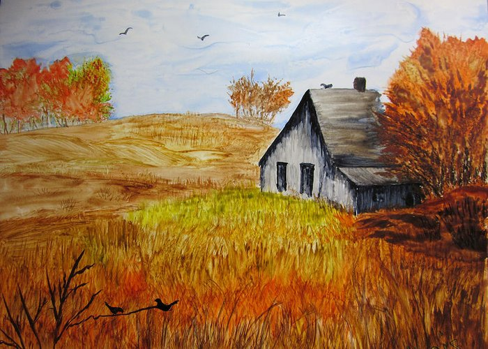 Landscape Greeting Card featuring the painting The Old Barn by Maris Sherwood