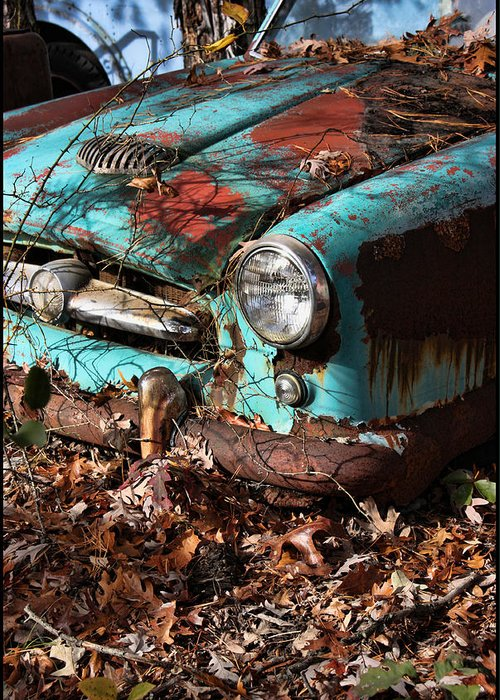 Old Car Greeting Card featuring the photograph The Old Blue Car by Bonnie Rovere
