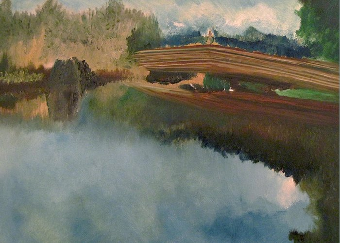 The Old Bridge Greeting Card featuring the painting The Old Bridge by Richard Beauregard